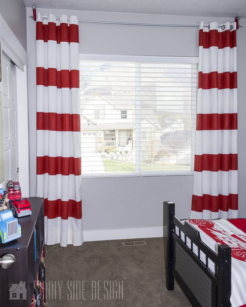 Painted Red Strip Curtain
