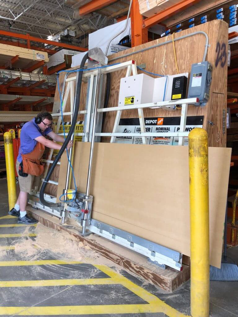 """mdf cut into 4"""" strips at The Home Deopt"""