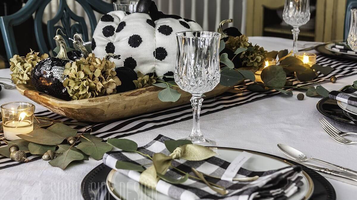Chic Black & White Fall Tablescape