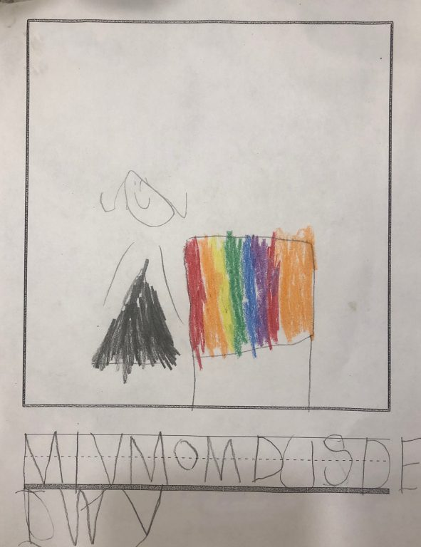 """Childs drawing for mom. A rainbow of colors that says """" My mom loves to DIY and is not afraid of color."""