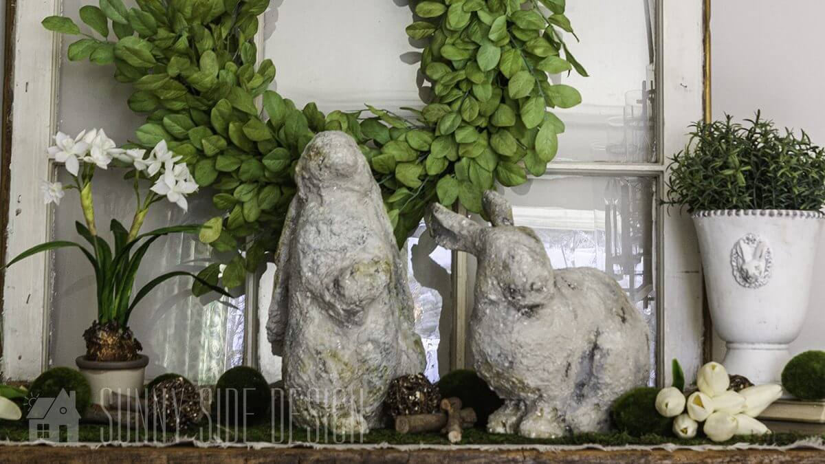 Re Purpose Thrift Store Bunny with a Weathered Stone Look