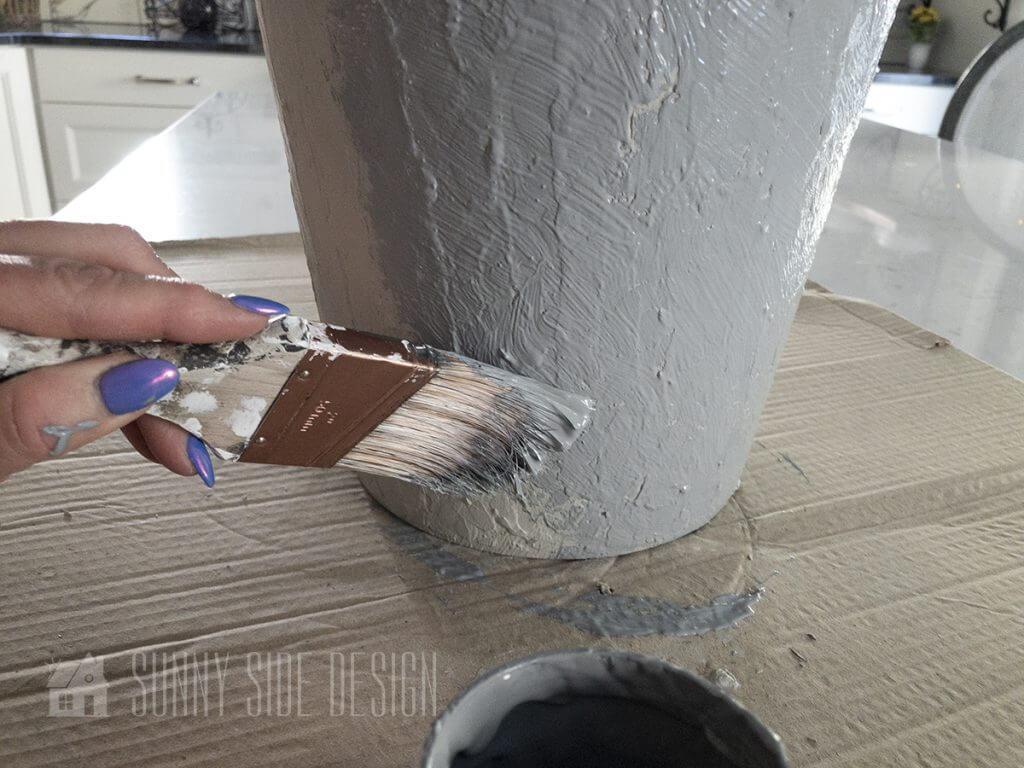 2nd coat of medium grey paint on faux concrete finish