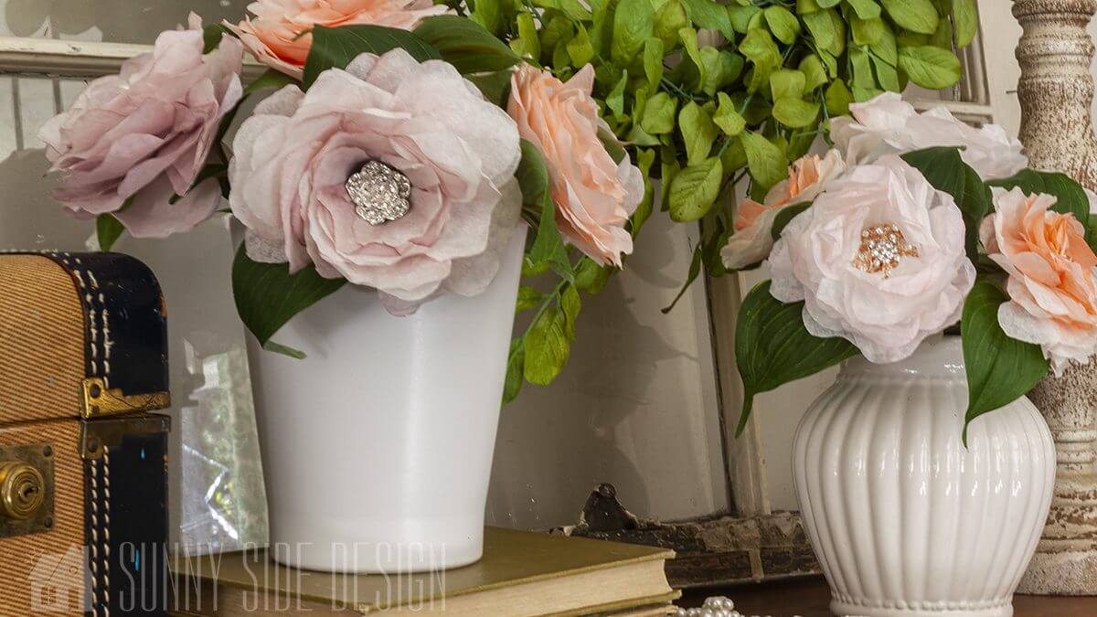 Easy Coffee Filter Flowers with Bling