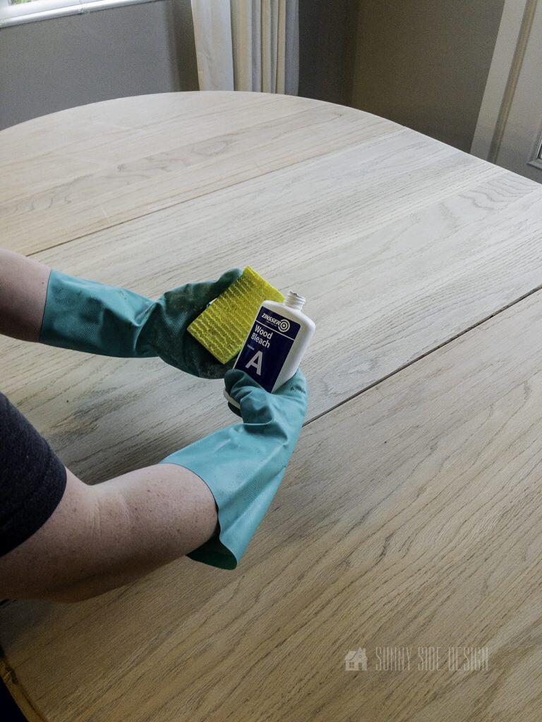 applying part A wood bleach