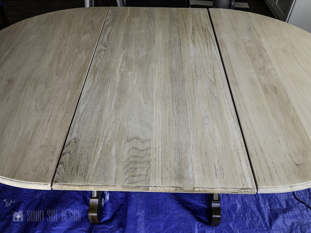 after wood table bleached