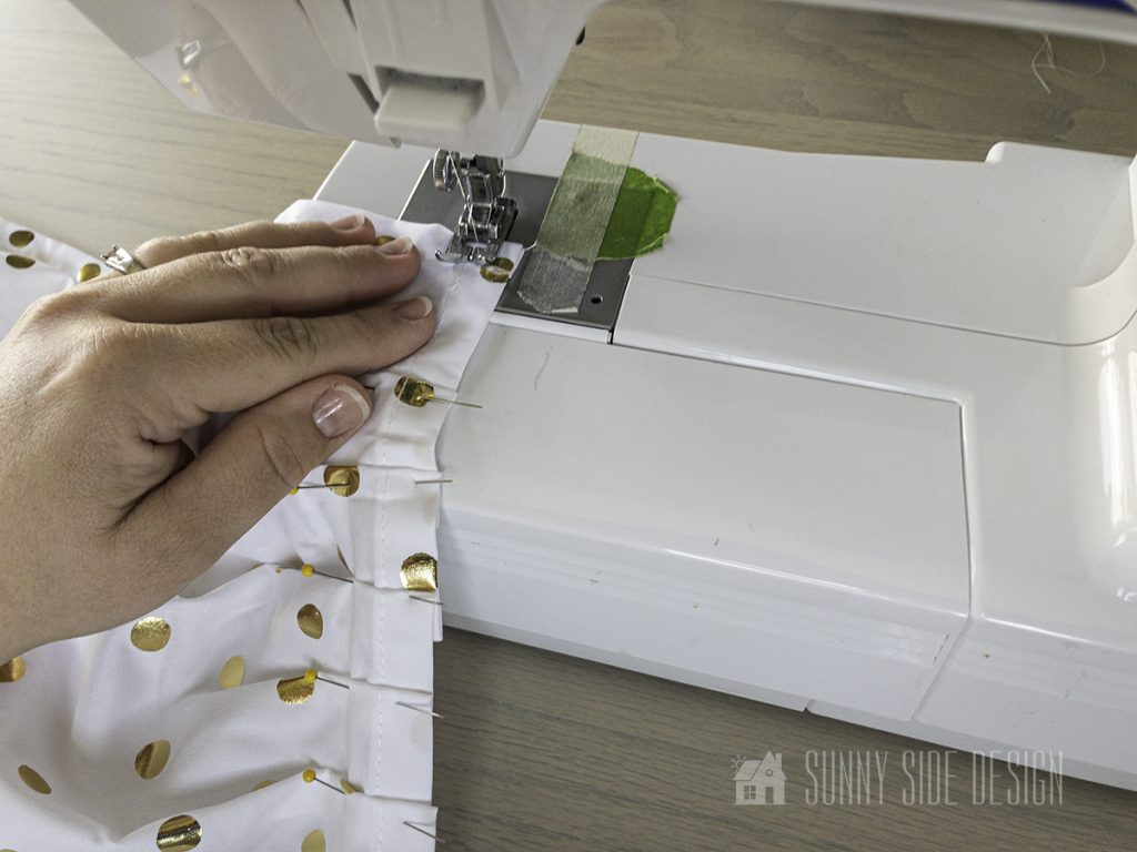 stitching the sheets for bed crown