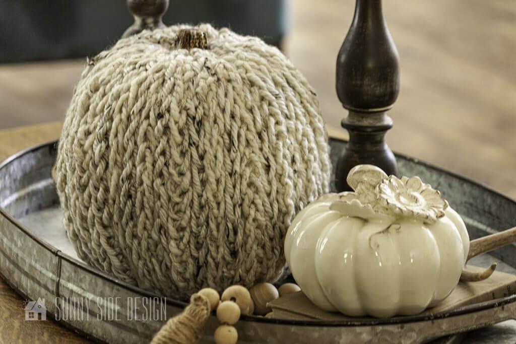 Add a knit pumpkin