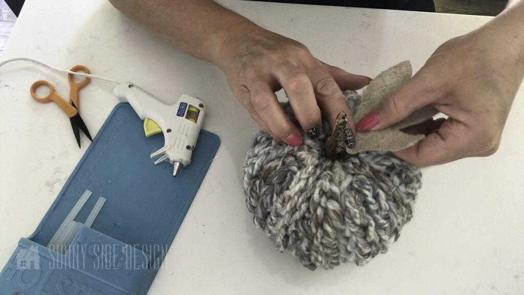 Finger knit pumpkin