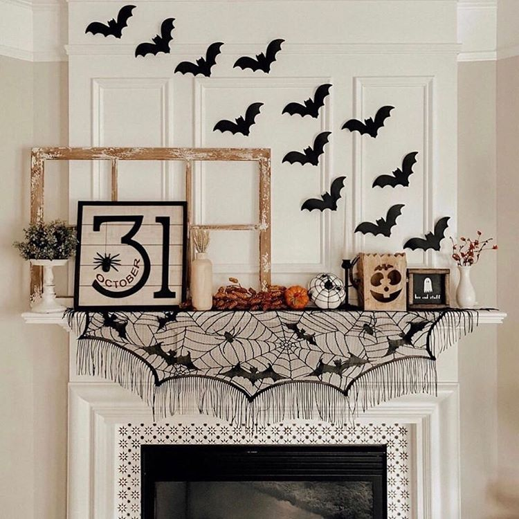 Halloween Decor on Mantle