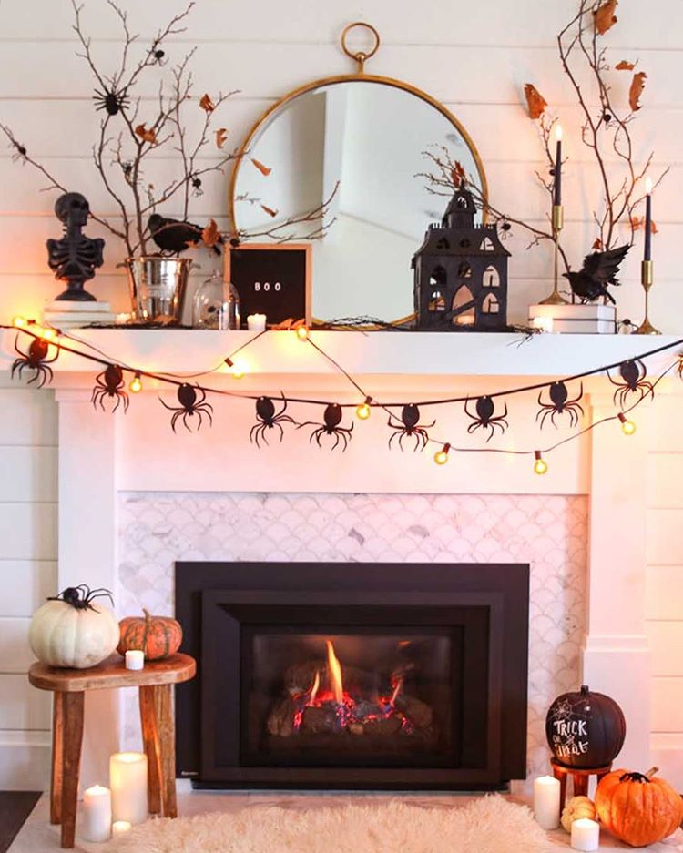 Ideas for halloween decor for the fireplace.