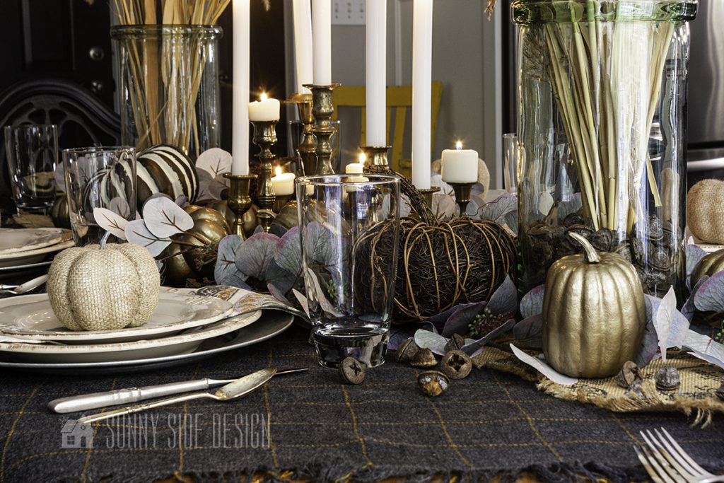 Setting the Thanksgiving table with linens