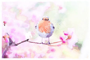 Bird in Cherry Blossoms | Printable Wall Art