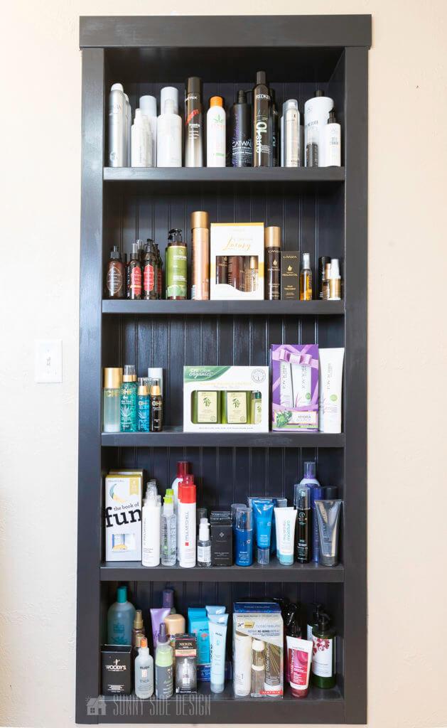 built in shelves in wall