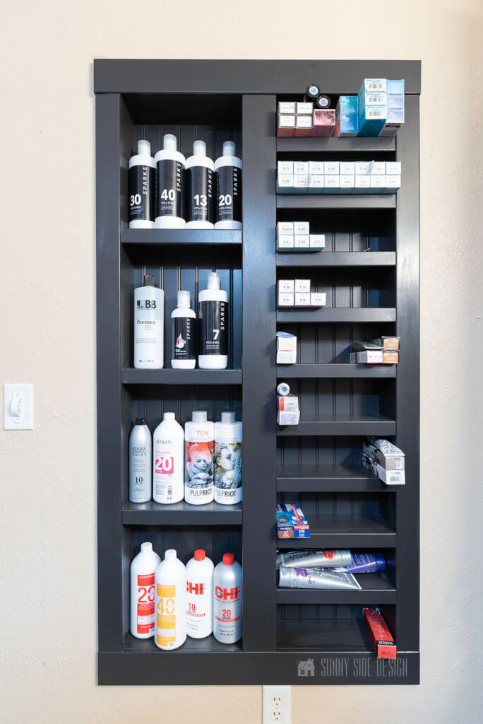 built in shelves in wall