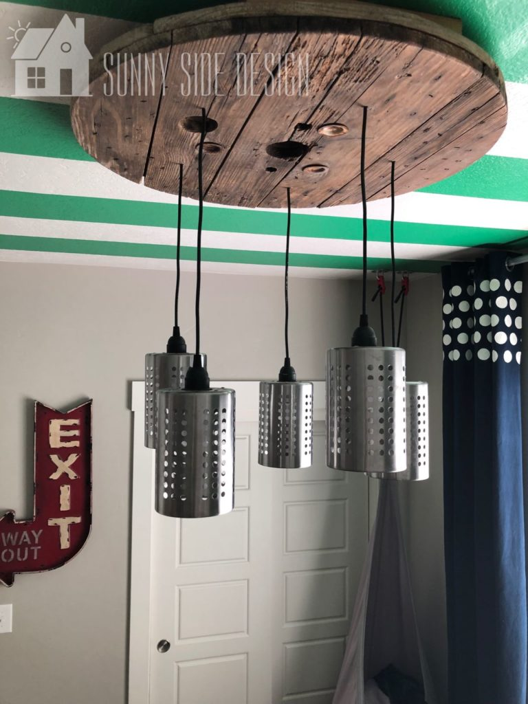 diy industrial light fixture in teen bedroom in home tour