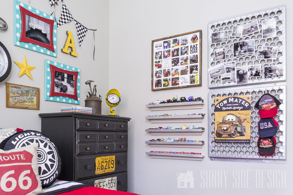 personalized wall decor in car themed bedroom