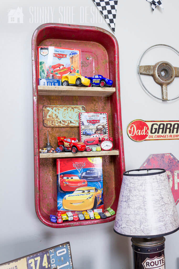 wagon shelf decor in car themed bedroom