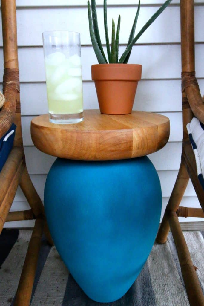 upcycled vase with chips and salsa bowl