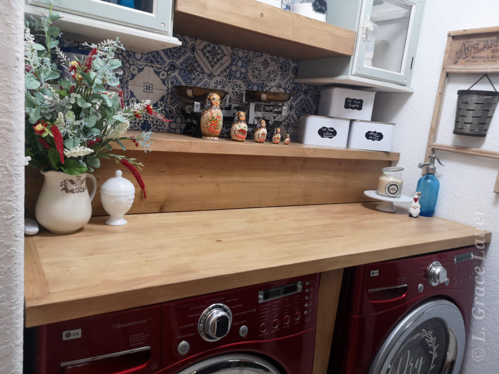 upcycled table top to laundry counter