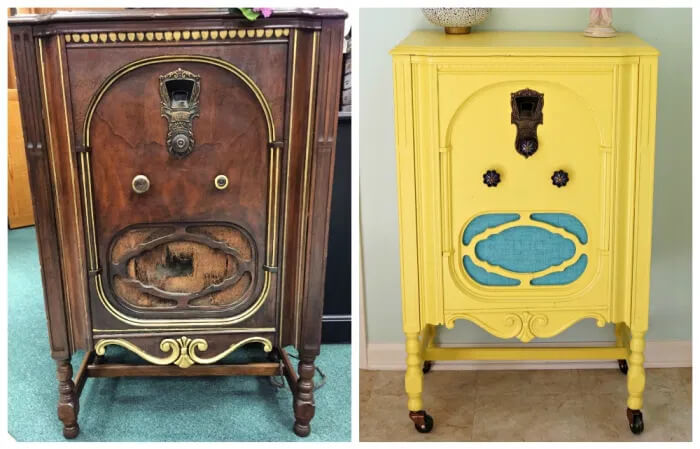 upcycled vintage radio to cat house