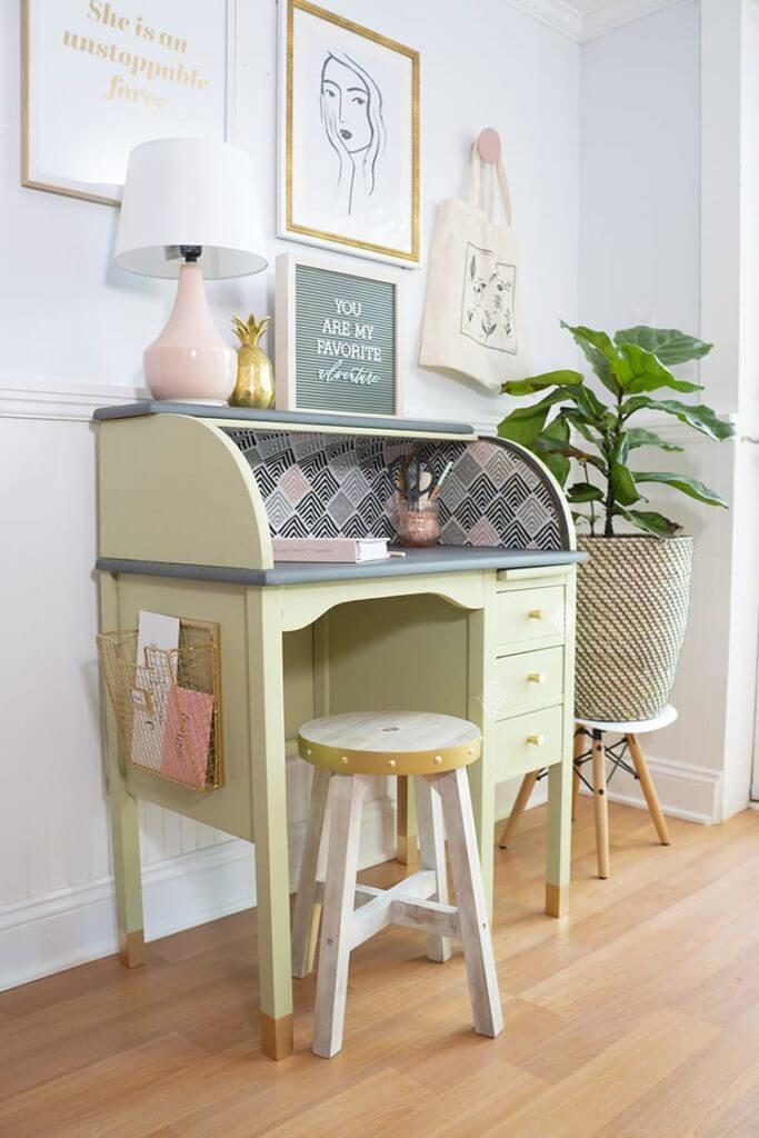 repurposed vintage roll top desk