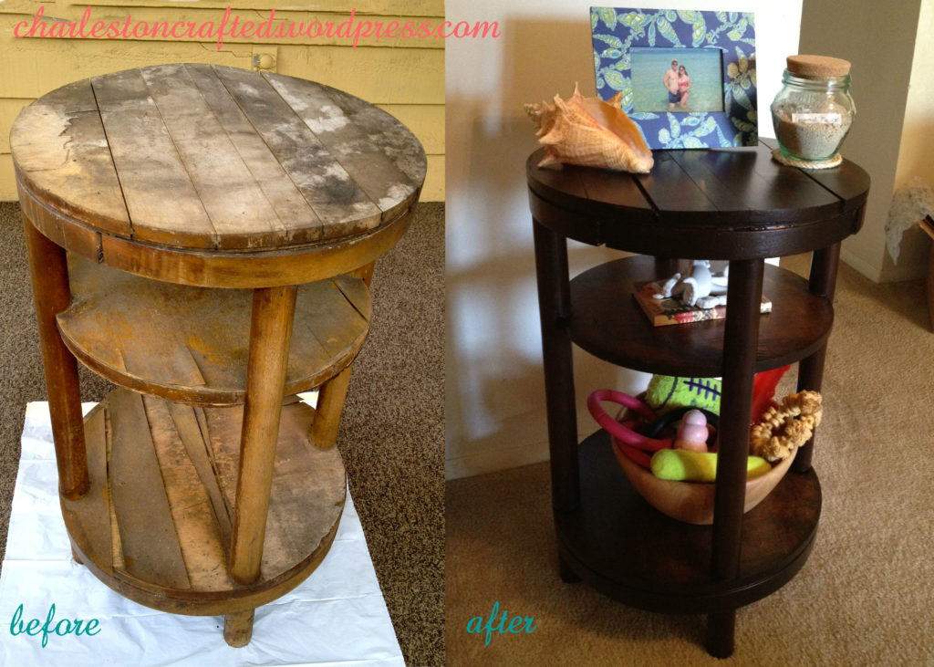 trashed table repurposed into beautiful side table