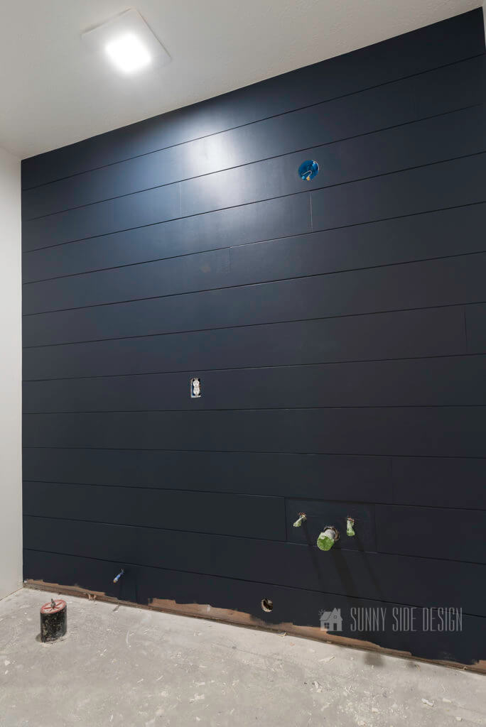 completed DIY shiplap wall