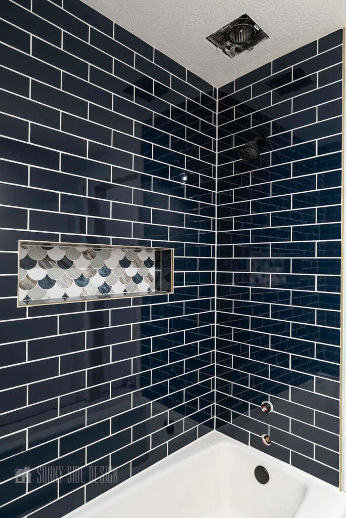 completed tile shower