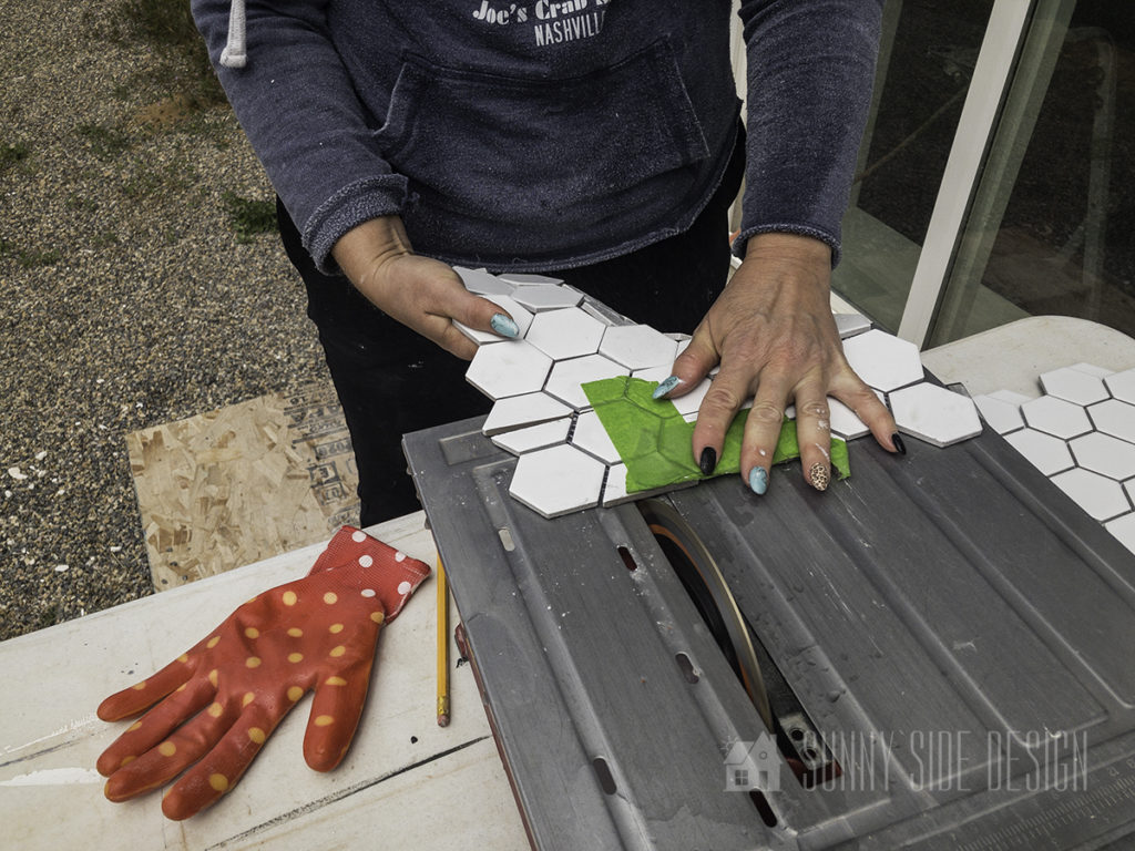 use a wet saw to cut hexagon floor tile