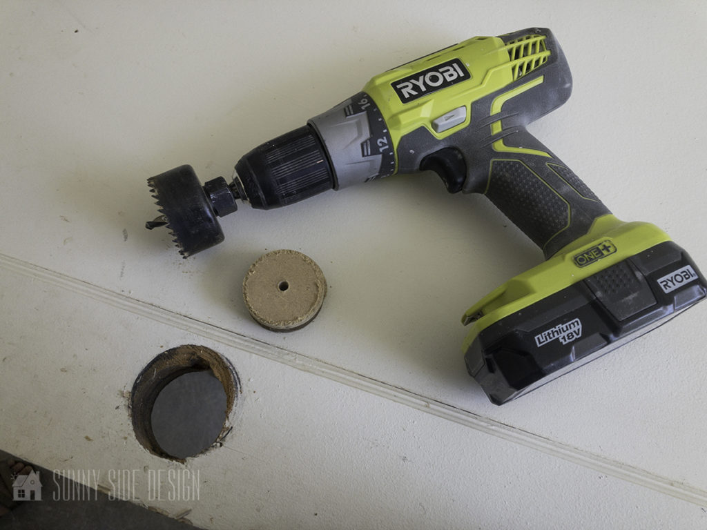 use a hole bit to create filler for the door handle hole