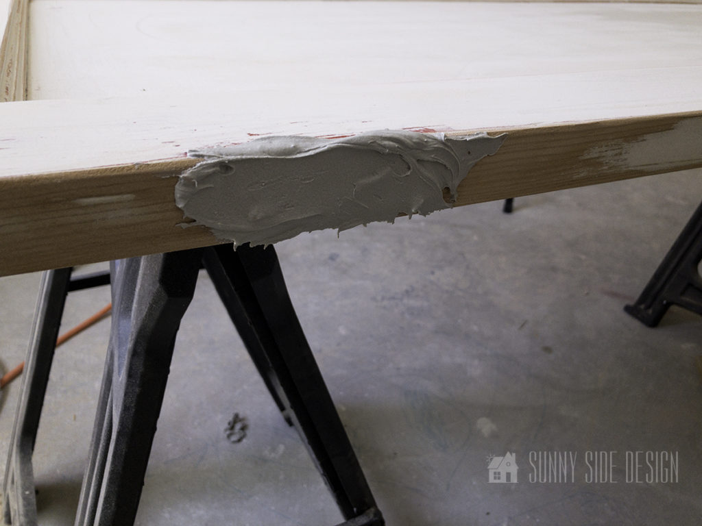 fill in the hinges grooves with bondo