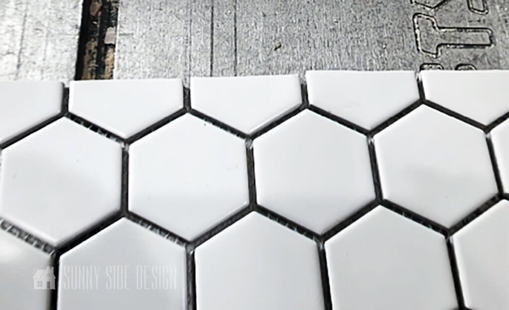 straight edge cut on hexagon tiles