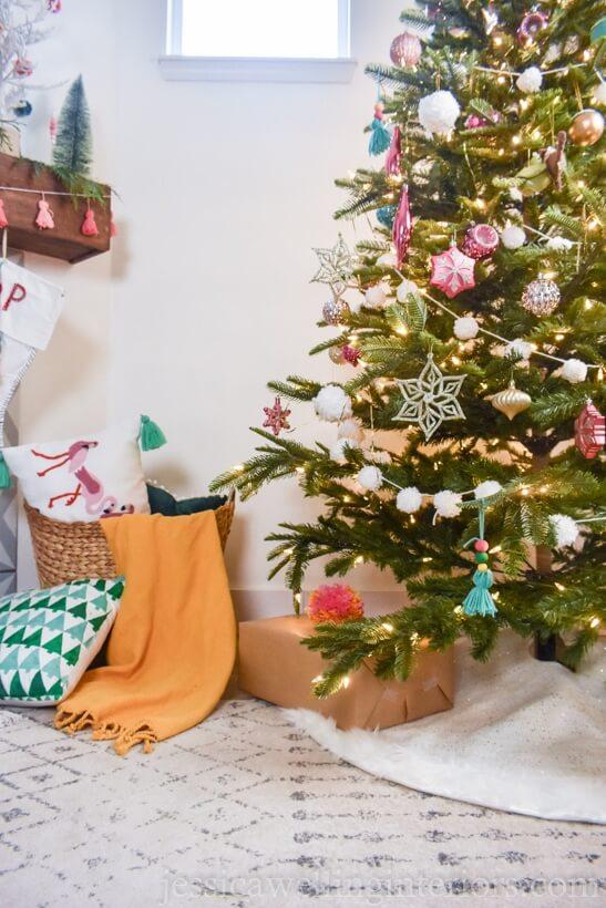 Boho Christmas tree decorations by Jessica Wellington interiors