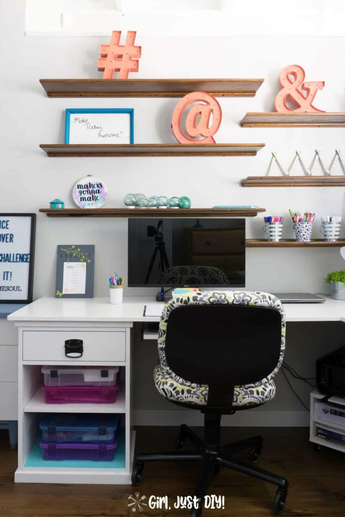 creative diy L shaped desk in homework room