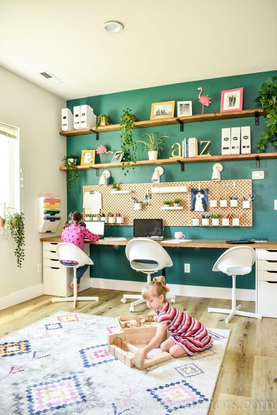 utilizing the living room as a homework room