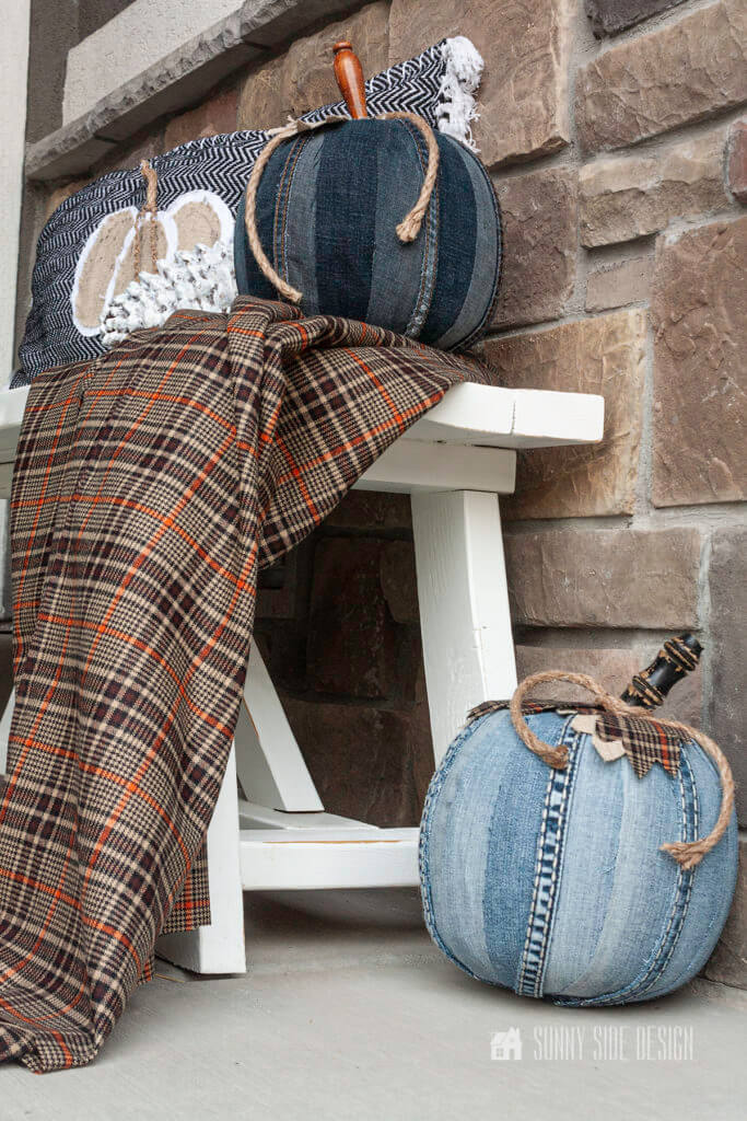 This pumpkin craft idea using an old pair of jeans is perfect for decorating the front porch
