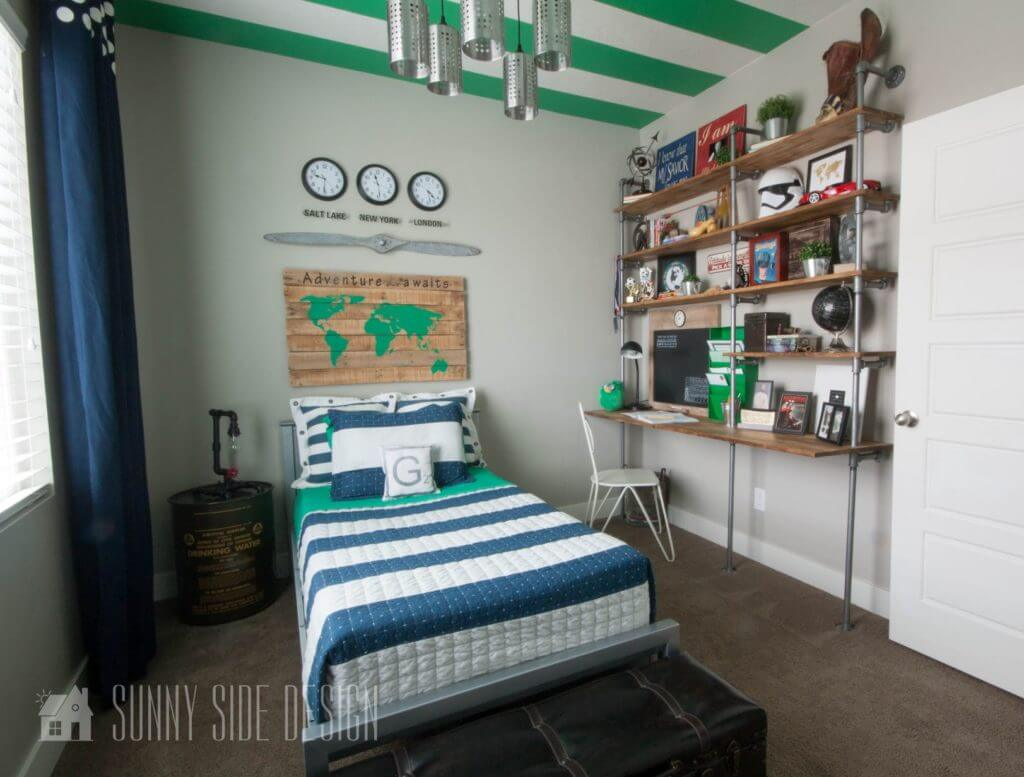 DIY homework station made from electrical conduit, joints and select pine boards