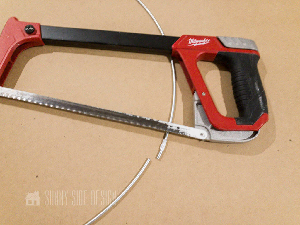 cut the metal hoop with a miter saw