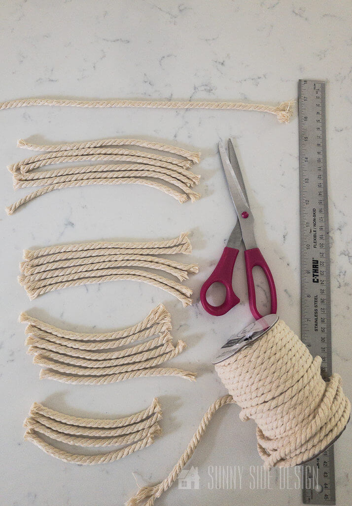 cutting the macrame thread to correct lenghts