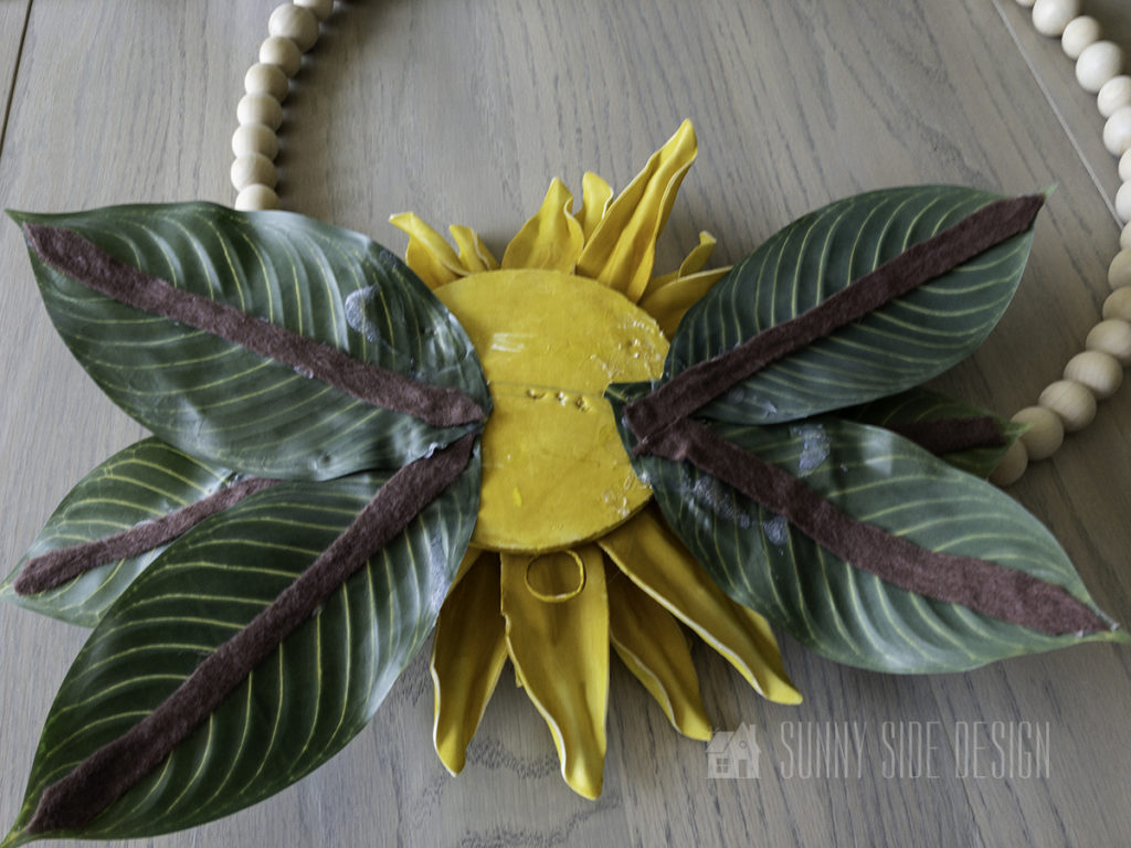 back of sunflower wreath, before its attached to the metal hoop