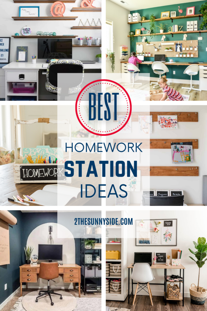collage of homework station ideas