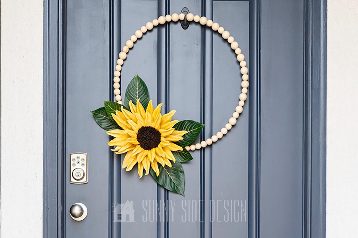 How To Make a Modern Metal Hoop Sunflower Wreath
