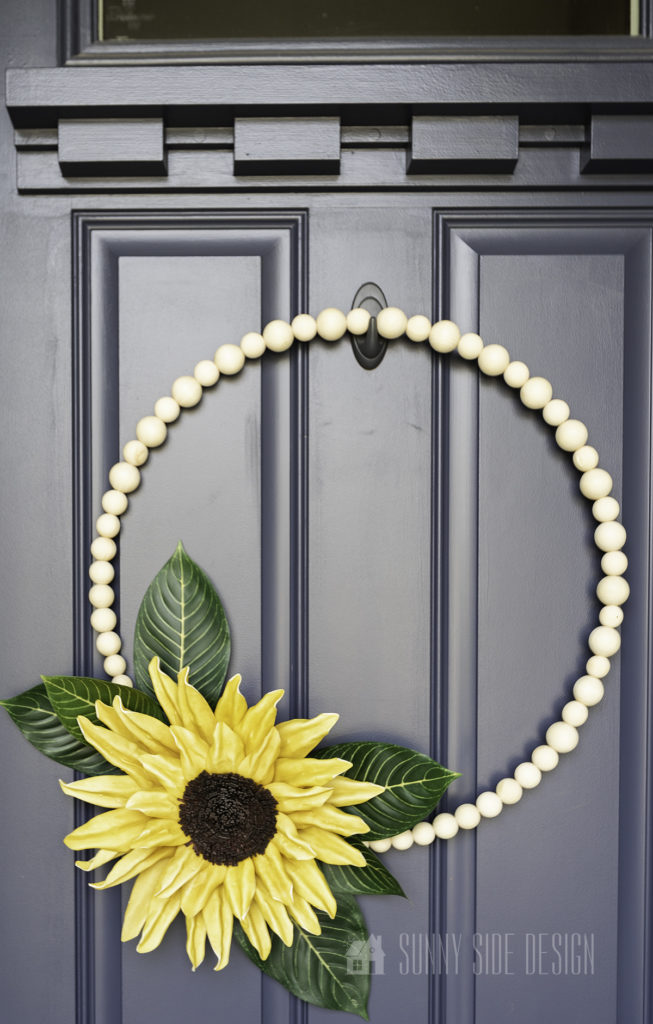 Close up view of DIY sunflower wreath
