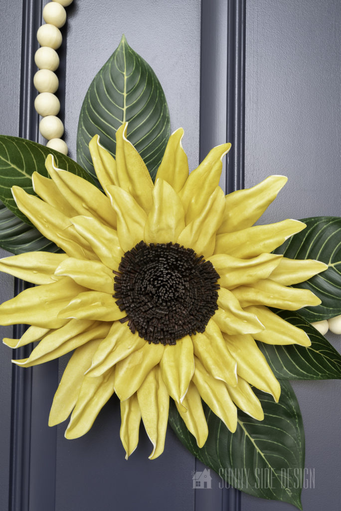 FallDIY decorating idea with modern sunflower wreath with beads