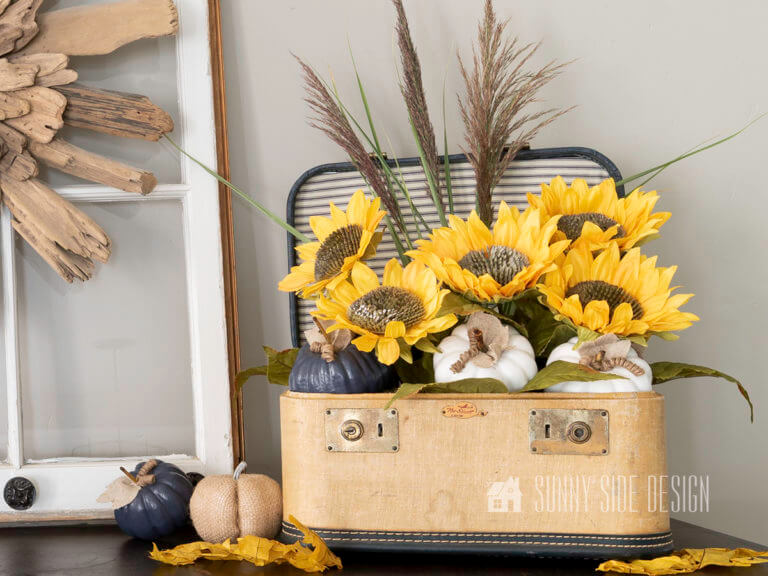 Simple Sunflower Arrangement in a Vintage Cosmetic Case