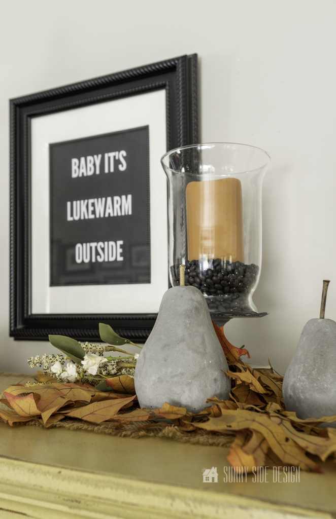 CHEAP FALL DECOR WITH FREE PRINTABLE. AUTUMN LEAVES WITH CONCRETE PEARS AND A FALL SCENTED CANDLE.