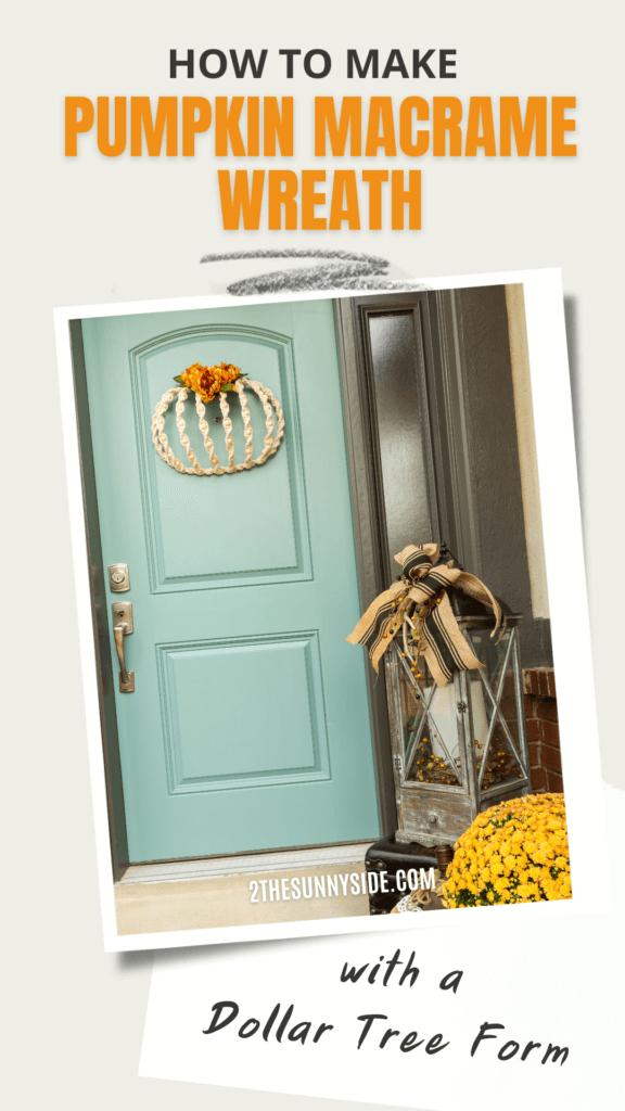 Pinterest Image, Blue front door with Fall Macrame Pumpkin Decor