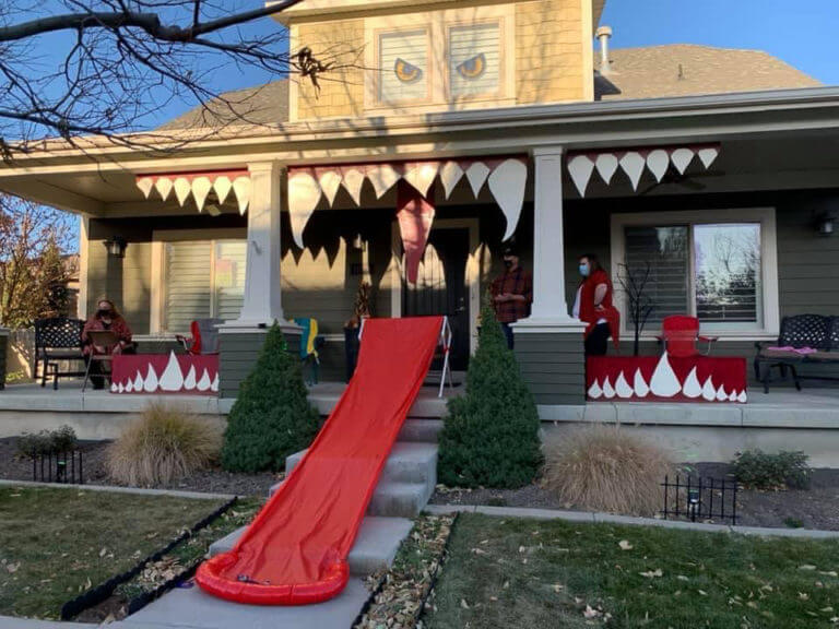 Simple DIY Monster house perfect for outdoor Halloween decorations