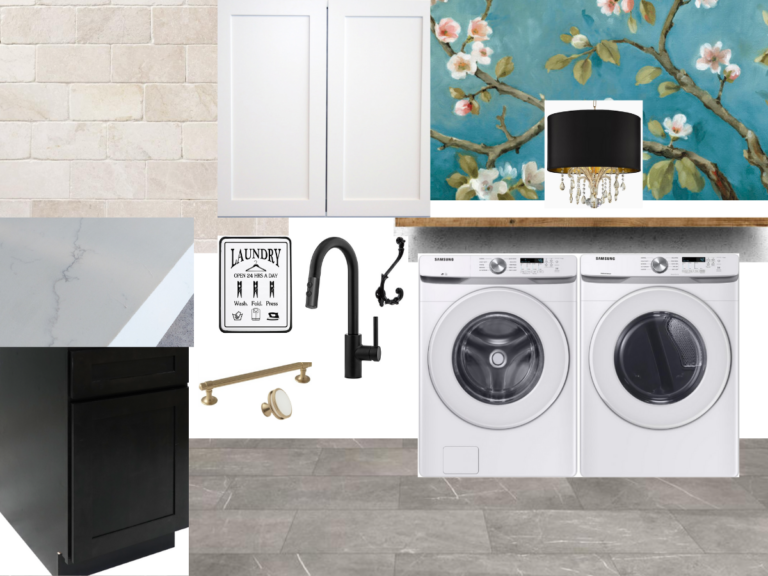 Vision board for laundry room ideas. Gray honed marble porcelian tile, white tumbled marble backspash, white shaker cabinets and ebony shaker cabinets, cherry blossom mural wallpaper, white quartz countertop, champayne gold and black hardware and crysal chandelier with black drum shade.